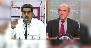 """Estados Unidos, en la voz del representante especial Elliott Abrams; reitera respaldo a Juan Guaidó, al tiempo que envía un duro mensaje al presidente Nicolás Maduro y le reitera que """"vamos a incrementar su aislamiento""""."""